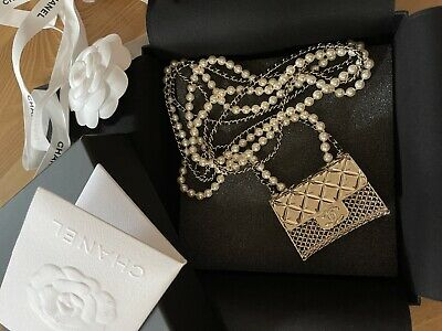 £2831.96 • Buy Auth Chanel 21s Long Necklace Bag Motif Metal Lambskin / Pearl Gold .