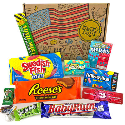 £9.95 • Buy American Candy And Chocolate Gift Hamper Box   USA Sweets   Nerds Baby Ruth