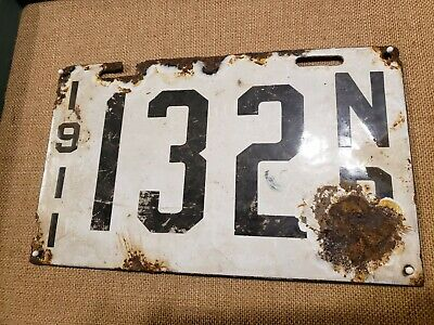 $ CDN4500 • Buy 1911 New Brunswick Canada Porcelain License Plate RARE 110 Years Old!