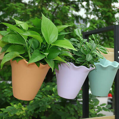 £4.48 • Buy Wall Mounted Flower Pots Hanging Planter Plant Pot Garden Balcony Fence Decor