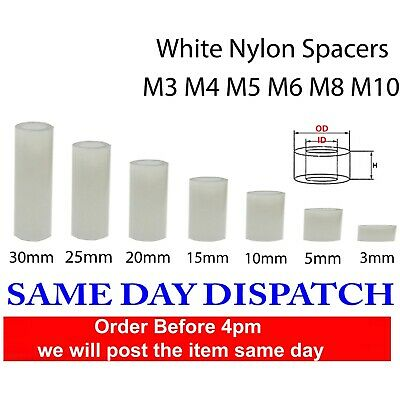 £3.50 • Buy White Nylon Spacers Standoff Washers Natural Colour ( Pack Of 10) M2.5-M10