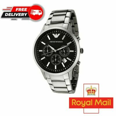 £32.99 • Buy * New Emporio Armani Ar2434 Stainless Steel Black Dial Chronograph Mens Watch *