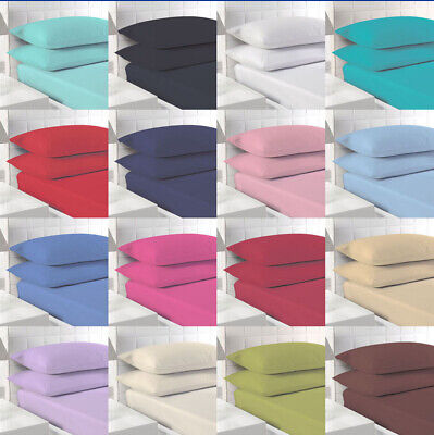 £6.99 • Buy Polycotton Fitted Sheet Single 4ft Small Double King Super King 9  In 11 Colours