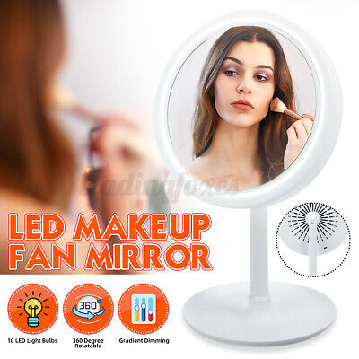 £9.49 • Buy Portable LED Makeup Mirror With Small Fan 90-Degree USB Settings Touch Screen UK