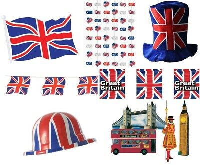 £5.99 • Buy British Union Jack Theme Party Decorations Great Britain Olympics Red White Blue
