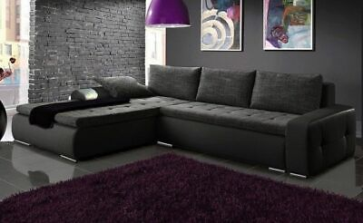 £595 • Buy Left Hand Side Corner Sofa Bed With One Storage & Upholstery Belts In Grey/Black