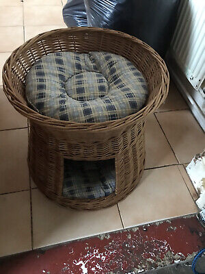£15 • Buy 2 Tier Wicker Pet Bed Basket Cat Kitten Puppy Sleep Play House Removable Cushion