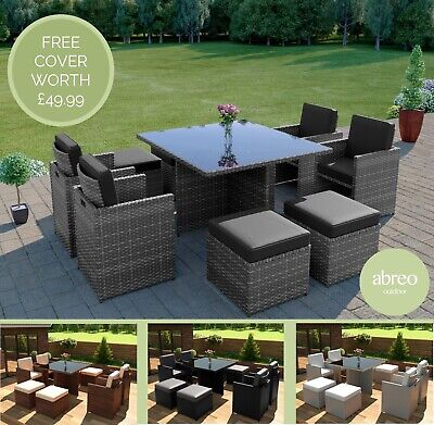 £524.99 • Buy Rattan Garden Furniture 8 Seater Dining Table Cube Set With Arm Chairs & Stools