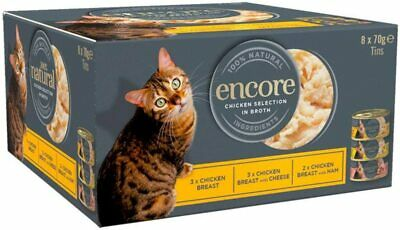 £7 • Buy Encore 100% Natural Wet Cat Food, Multipack Chicken Selection In Broth 8 X 70g