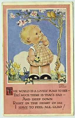 $4.50 • Buy Happy Child, 1940s; Artist Signed, Mabel Lucie Attwell