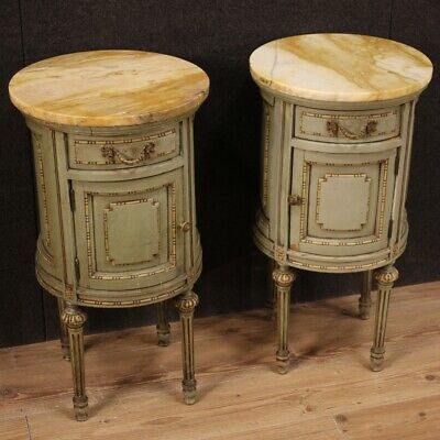 £3007.97 • Buy Pair Of Nightstands A Cylinder Columns Level Marble Antique Style Louis XVI