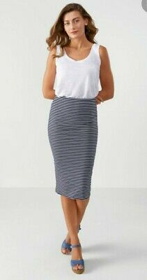 £29.99 • Buy Pure Collection Navy White Stripe Jersey Stretch Tube Skirt Sz 18 Bodycon Wiggle