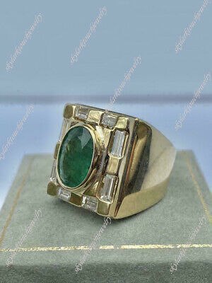 $156 • Buy Vintage Men's 4ct Oval Green Emerald & Diamond Pinky Ring 14K Yellow Gold Over