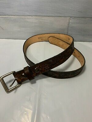 $20.50 • Buy Western Hand Tooled Brown Leather Belt Bass Fishing Boat Fishing Mens Sz. 32 NEW