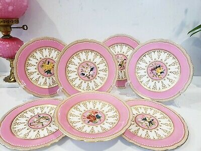 £1199.87 • Buy Minton Porcelain Cabinet Pink Jewelled Dessert Plates And Tazza