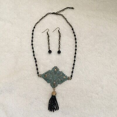 £17.75 • Buy Lasercut Hammered Paper Thin Copper Turquoise Tassel Drop Necklace + Earrings