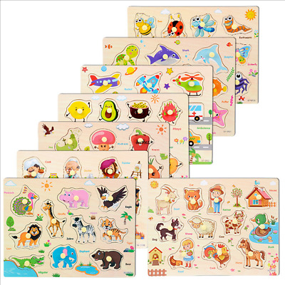 £5.99 • Buy  Baby Toddler Jigsaw Kids Puzzle Alphabet Letters Animal Wooden Learning Toys UK