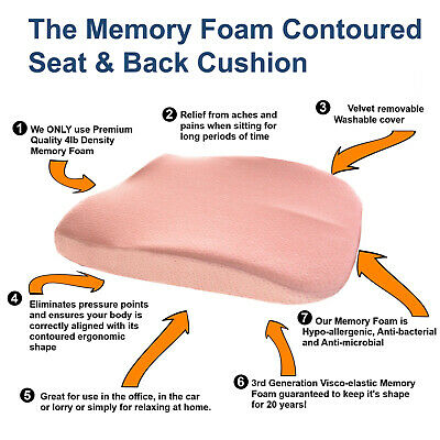 £16.99 • Buy Back Seat Cushion Memory Foam Car Office Chair Height Booster Lumbar Support UK