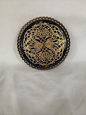 £9.21 • Buy Brass Filigree Tray With Inlay Design Against Colbalt Blue Trinket Dish