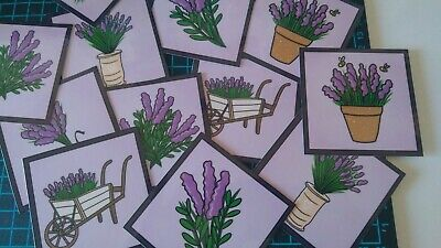 £2 • Buy 12 Handmade, Card Toppers, Lavender, Floral, Flowers, Square, Card Making, Craft