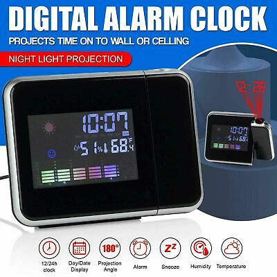 £7.45 • Buy Digital Led Projection Alarm Clock Snooze Clock Calendar Weather Thermometer