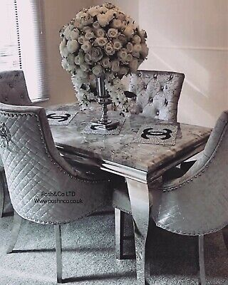 £949 • Buy BRAND NEW DINING SET!1.4 Light Grey Marble Imperial Table + 4 Bentley Chairs!