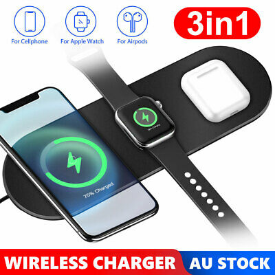 AU19.85 • Buy 3 In1 Qi Wireless Charger Charging Station Dock For Airpods IPhone Apple Watch