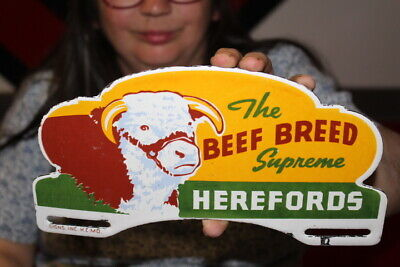 $ CDN29.89 • Buy Herefords Beef Breed Cattle Cow Farm License Plate Topper Porcelain Metal Sign