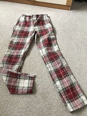£9.99 • Buy H&M Trousers Checkered Stretch Red Size 8 (e)