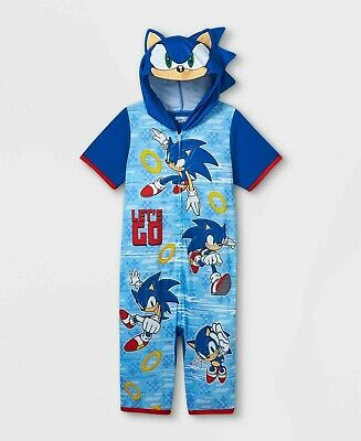 £20.26 • Buy Boys Sonic The Hedgehog One Piece Pajamas Hoodie Union Suit Video Game XS S M L