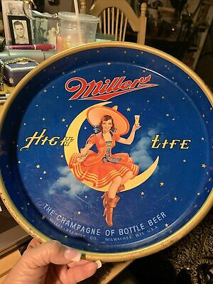 $39.99 • Buy Vintage 13  Miller High Life Girl On Moon Beer Drink Serving Metal Tray By Canco