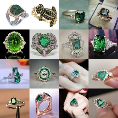£2.39 • Buy 925 Silver,Gold Wedding Jewelry Gift Fashion Women Rings Emerald Ring Size 6-10