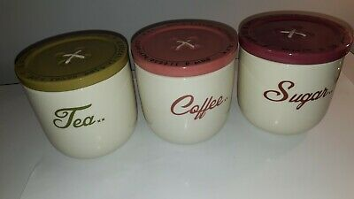 £10 • Buy Quirky NEXT Kitchen Crockery Stitch In Time Tea Coffe And Sugar Containers
