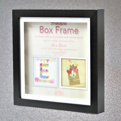 £8.95 • Buy 20cm Square Black Wooden Deep Shadow Box 3D Photo Picture Frame Scrabble Display