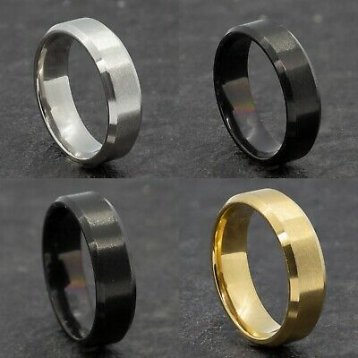 £4.99 • Buy 6mm Stainless Steel Mens Womens Wedding Band Black Gold Silver Ring Size M To Y