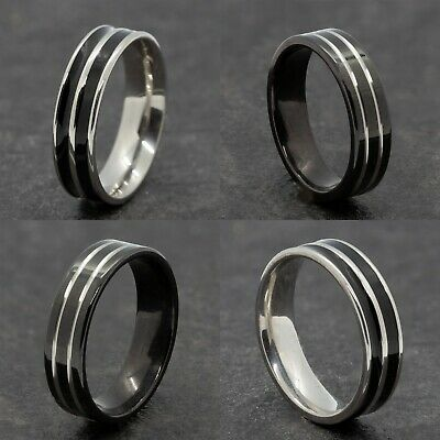 £4.99 • Buy 6mm Stainless Steel Silver Black Mens Womens Wedding Band -  Ring Sizes N To Y
