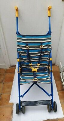 £28 • Buy Vintage 1980s/1990s Mothercare Blue & Yellow Striped Wide Seat Pushchair