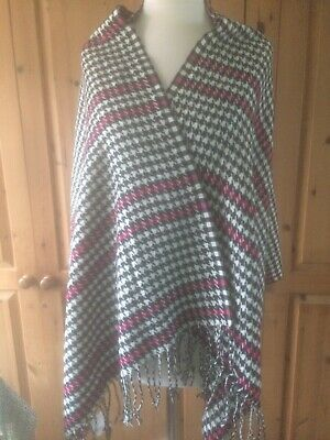 £1.50 • Buy Lady's Scarf / Wrap GEORGE Black Pink White Houndstooth HELP ANIMALS IN INDIA