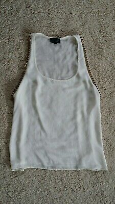 £9.99 • Buy Topshop Cream Gold Stud Vest Top Sz 12 Low Side Casual Rock Chic Funky Punk