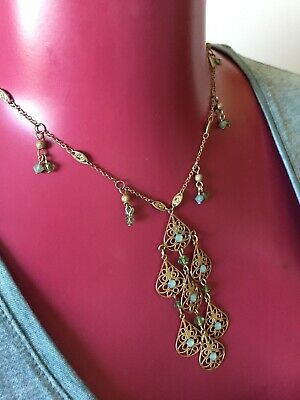 £18 • Buy OASIS Gorgeous Gold And Green Drop Leaf Grecian/Indian Style Necklace BNWOT