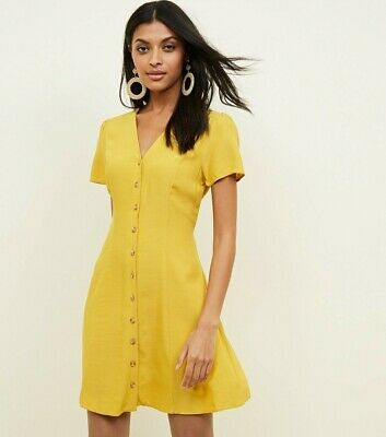 £10 • Buy New Look Button Front Tea Dress. Mustard. Yellow. Size 8