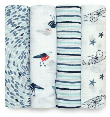 £19.99 • Buy Aden + Anais Essentials Seashore 4 Pack Swaddles Baby Bedding Brand New