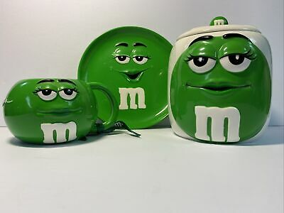$29.99 • Buy M&M Cookie Jar Canister With Lid. Plate And Mug