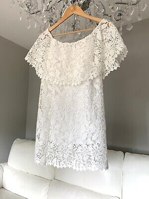 £38 • Buy Zara White Dress, Lace, Broderie Anglaise, Size M