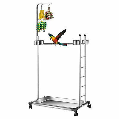 £104 • Buy  Parrot Play Stand Bird Playground Stainless Steel Perch Gym With Feeder Tray