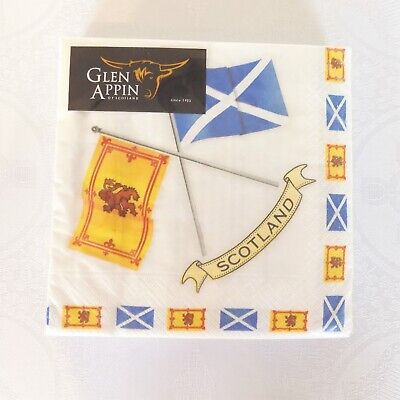 £3.89 • Buy Scottish Flags 3 Ply Paper Napkins (Pack Of 20) 33cm/13ins Sq. Glen Appin AP2124