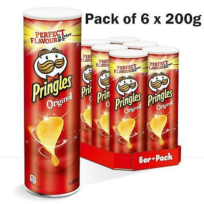 £9.99 • Buy Pringles Original Flavour Potato Crisps Chips Snack Can Tubes - Pack Of 6 X 200g