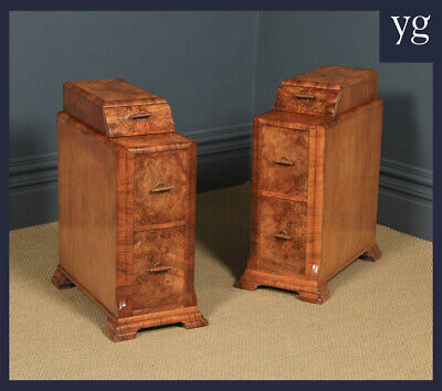 £1350 • Buy Antique Pair Of Art Deco Burr Walnut Bedside Chests Cabinets Tables Nightstands