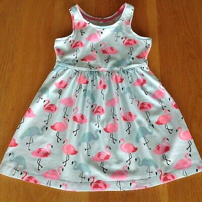 £3 • Buy Girl's Blue Zoo Summer Dress Pink & Blue Flamingoes Cotton Size 3-4 Years