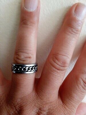 £10 • Buy Stirling Silver Mens Chain Spinning Ring